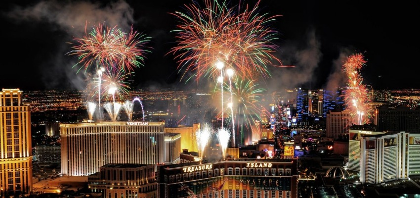 Las Vegas during the new years eve
