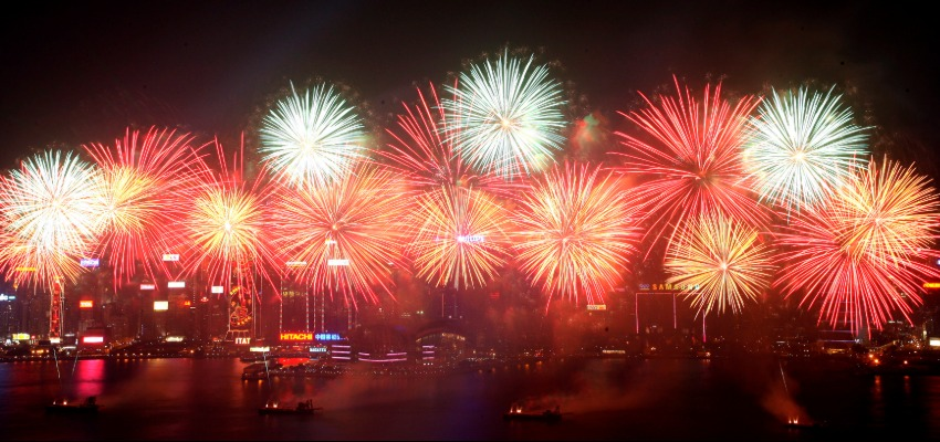 Victoria Harbour Hong Kong during New Year eve